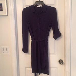 Navy blue belted shirt dress